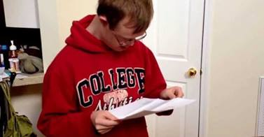 Video of Young Man with Down Syndrome Opening College Acceptance Letter